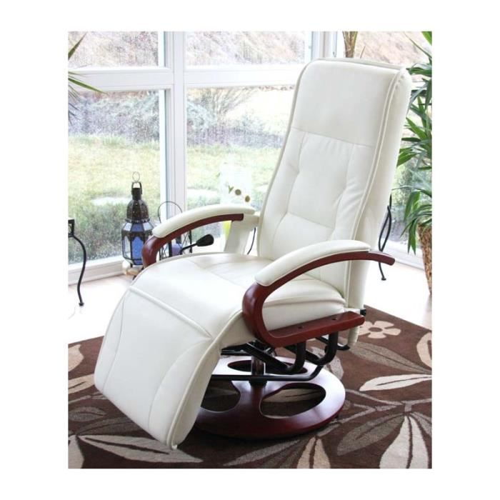 fauteuil massant relaxant blanc cr me achat vente fauteuil blanc cdiscount. Black Bedroom Furniture Sets. Home Design Ideas