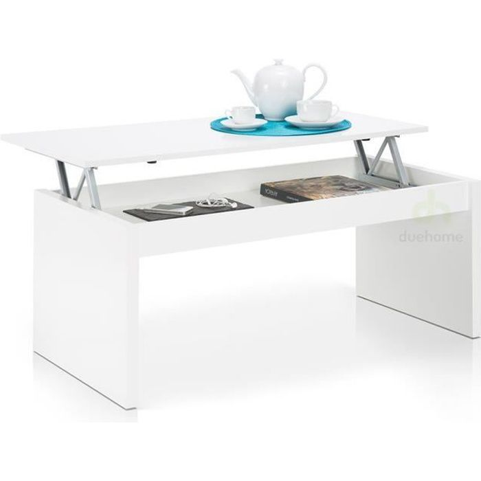 Table basse blanc brillant laqu avec plateau relevable for Table basse scandinave plateau relevable