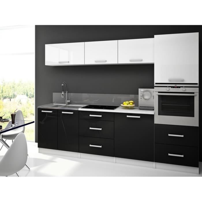 stella blanc noir cuisine compl te 260 cm achat vente cuisine compl te stella blanc noir. Black Bedroom Furniture Sets. Home Design Ideas