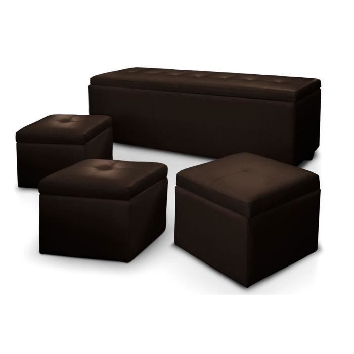 banquette coffre 3 poufs pu marron fonc capitonn banco xl achat vente banquette pu croute. Black Bedroom Furniture Sets. Home Design Ideas