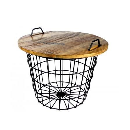 Table basse ronde style industriel en bois et m tal flexo - Table industrielle pas cher ...