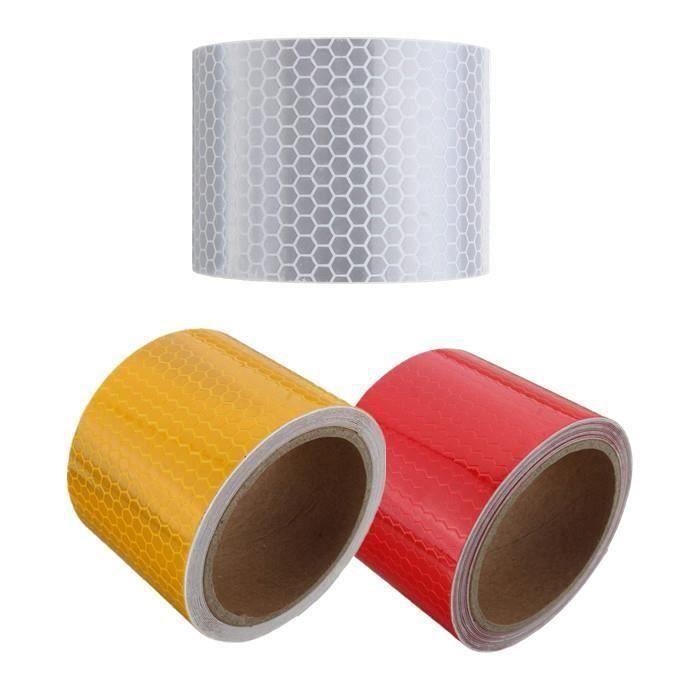 rouge//blanc//jaune Lot de 3 rubans r/éfl/échissants haute-visibilit/é de s/écurit/é 50 mm x 1 m