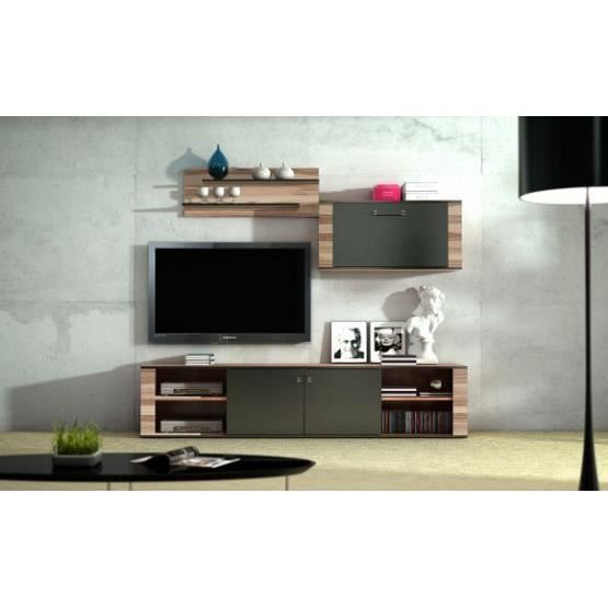 meuble tv design mural francisco bois et gris achat vente meuble tv meuble tv design mural. Black Bedroom Furniture Sets. Home Design Ideas