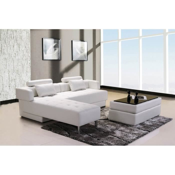 canap d 39 angle reversible convertible cuir pouf coffre table basse blanc longok achat. Black Bedroom Furniture Sets. Home Design Ideas