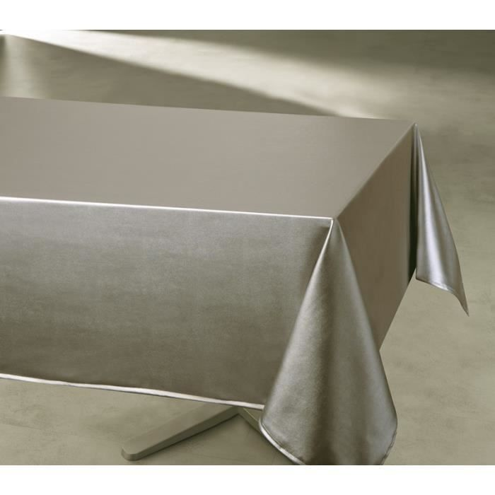 nappe enduite imperm able rectangulaire unie taupe 140 x 300 cm achat vente nappe de table. Black Bedroom Furniture Sets. Home Design Ideas
