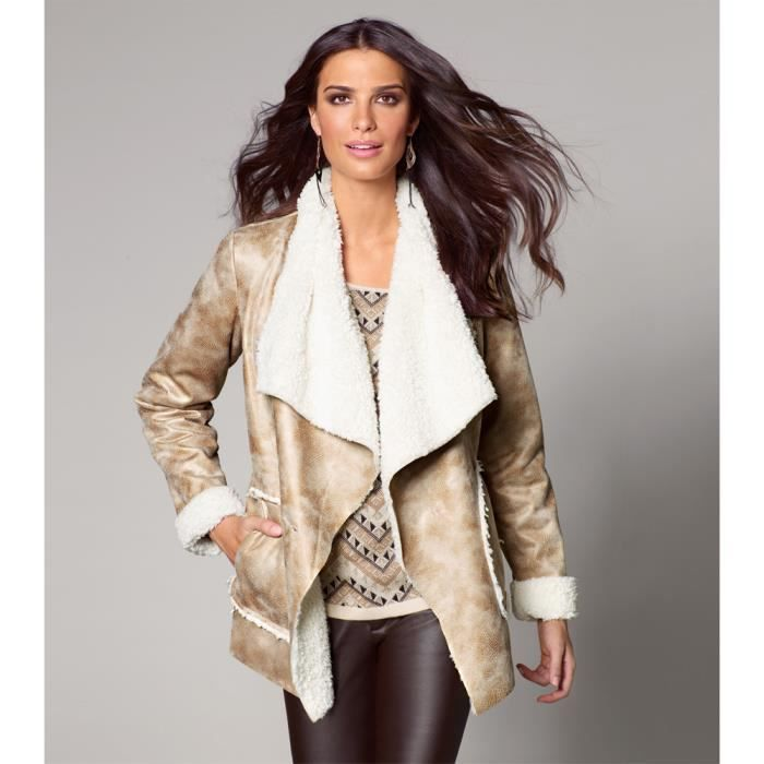 MANTEAU - CABAN Manteau imitation fourrure doubl...