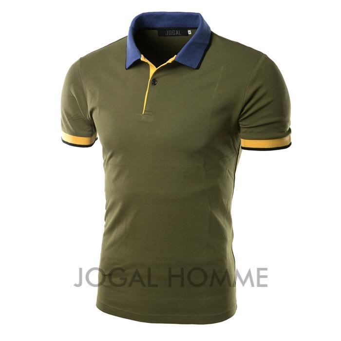 polo shirt homme col roul chemise manche courte vert achat vente polo cdiscount. Black Bedroom Furniture Sets. Home Design Ideas