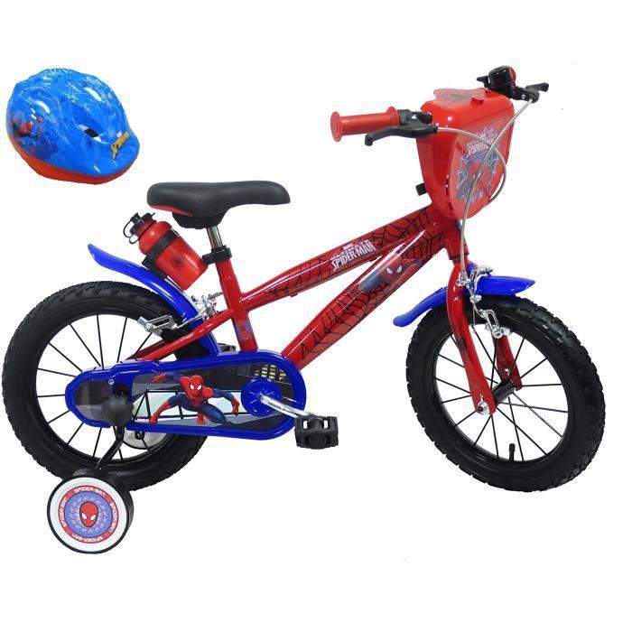 VÉLO ENFANT Vélo 14'' SPIDERMAN équipé de 2 freins, bidon & po