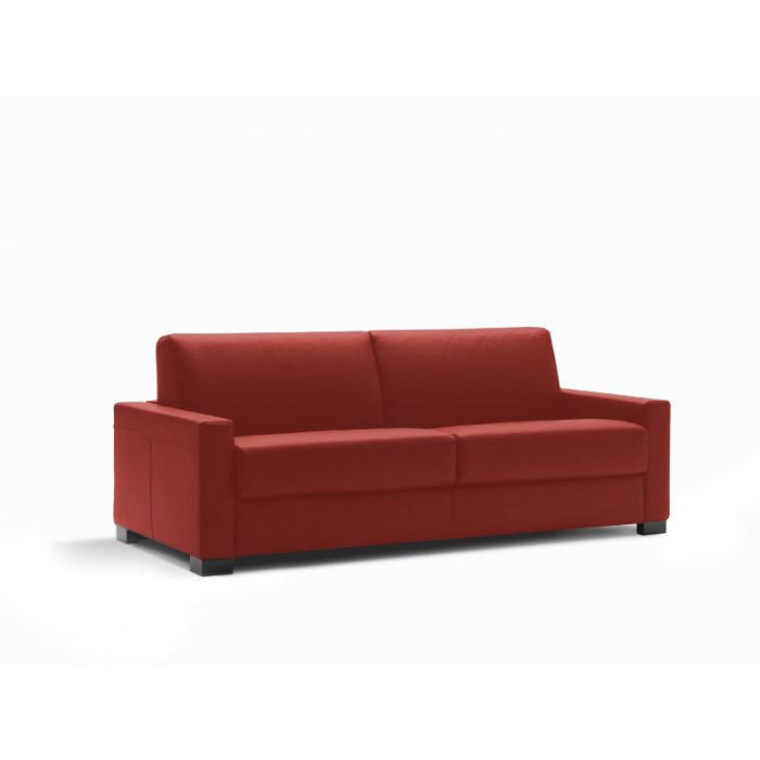 Canap convertible lit milano cuir recycl rouge achat for Canape lit deux places