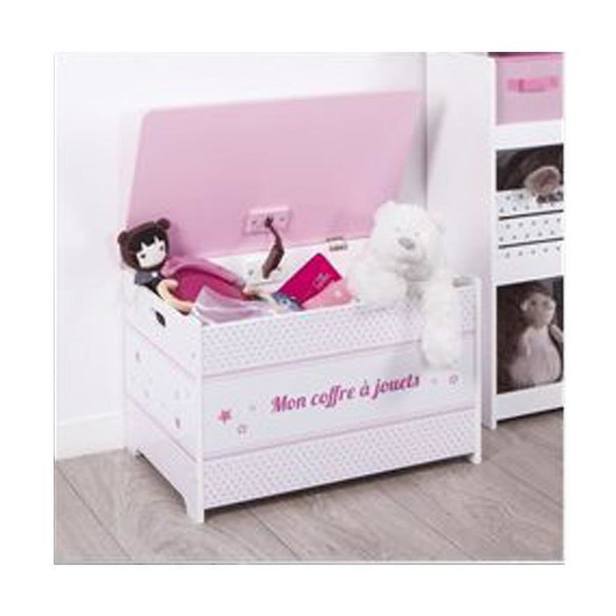 coffre jouets rose en bois autres rose blanc achat. Black Bedroom Furniture Sets. Home Design Ideas