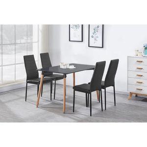 TABLE À MANGER COMPLÈTE Ensemble Table à Manger Noire + 4 Chaises en Simil