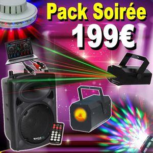 JEUX DE LUMIERE PACK SONO AVEC ENCEINTE AMPLIFIEE USB BLUETOOTH +