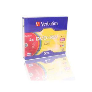 CD - DVD VIERGE VERBATIM Lot de 5 DVD+RW Colours - 4.7 Go - 4X