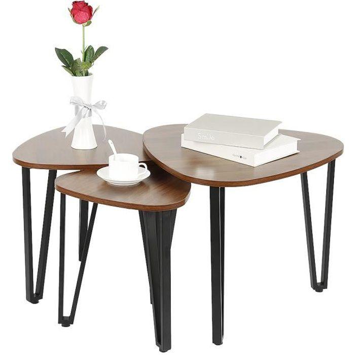LARAS Table basse gigogne - Pied en métal noir - Style industriel