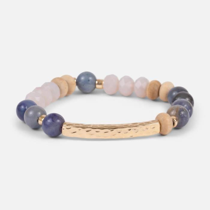 Bleu Perles Et Perles En Bois Bracelet Élastique_Or