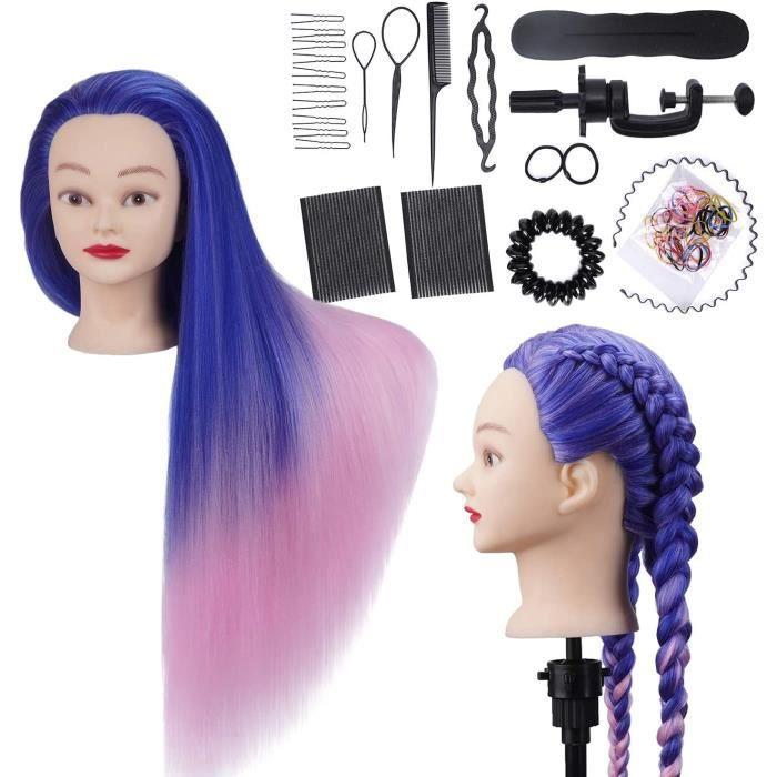 Têtes à Coiffer Professionnelle Synthétiques Cheveux Pratique Mannequin pour le Salon Coiffeur Poupée Support + Ensemble de Tresse