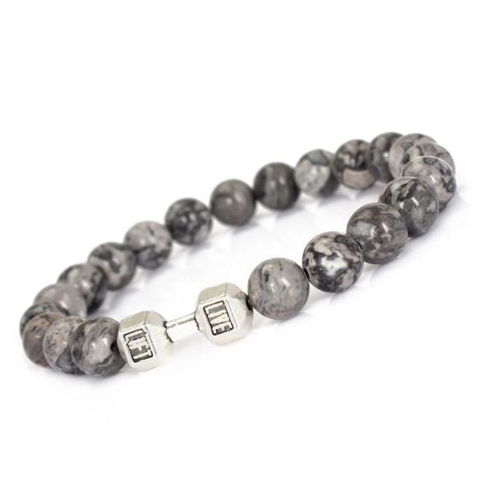 Bracelet en forme d'haltère homme Energy Fitness Perles de BRACELET_Noir3046