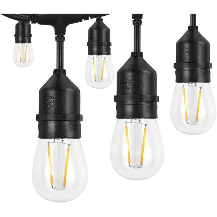 S14 Guirlandes Lumineuses, 49.6FT-15.2M 15 + 1 LED Ampoule Guirlande Guinguette Étanche Décoration Extérieur et Intérieur Blan[218]