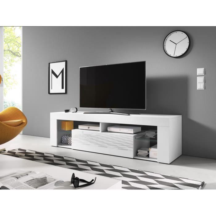 Meuble TV moderne Brodia 2 BLANC/gris LUMINEUX 140cm