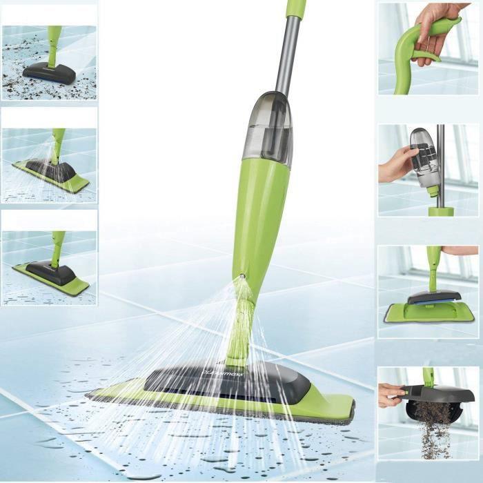 GLAI - Balai spray pour balayer, pulvériser et laver, avec réservoir 500 ml, modèle 2018 - Vert