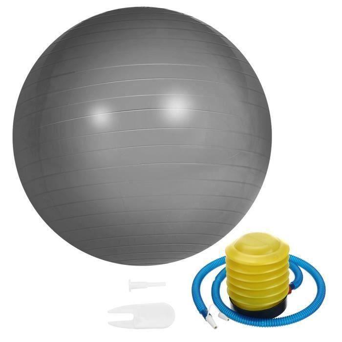 Ballon de Yoga 65cm Fitness Sport Exercice + Pompe Argent
