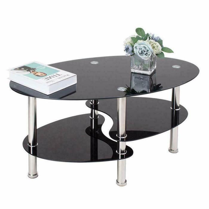 LARAS Table basse en verre trempé ovale Noir