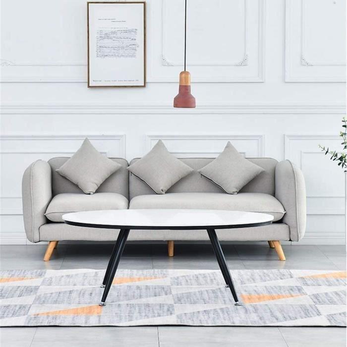 Tables de jardin Side Table Salon Petit Appartement en Fer forgé Table Ovale côté, Moderne Minimaliste en marbre Blanc N 100931