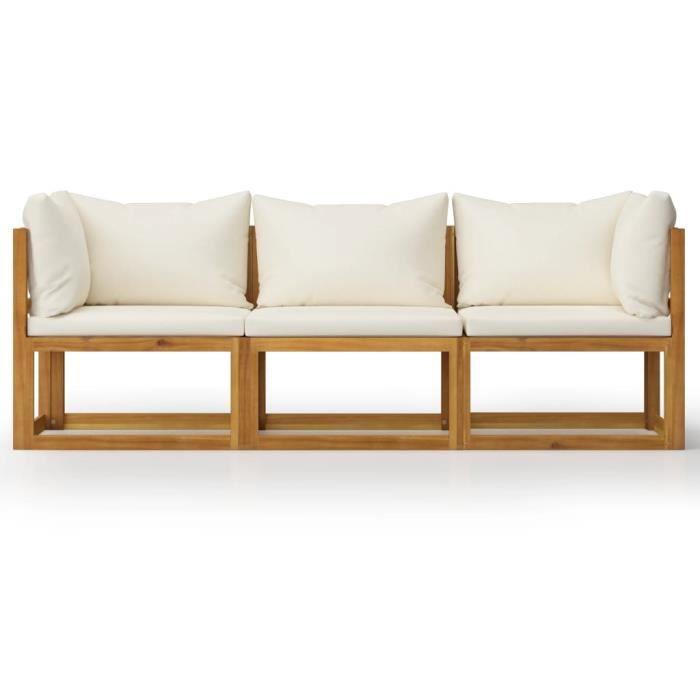 Star Market® Canapé Contemporain Sofa - Canapé de jardin à 3 places - avec coussin Crème Bois d'acacia #79769