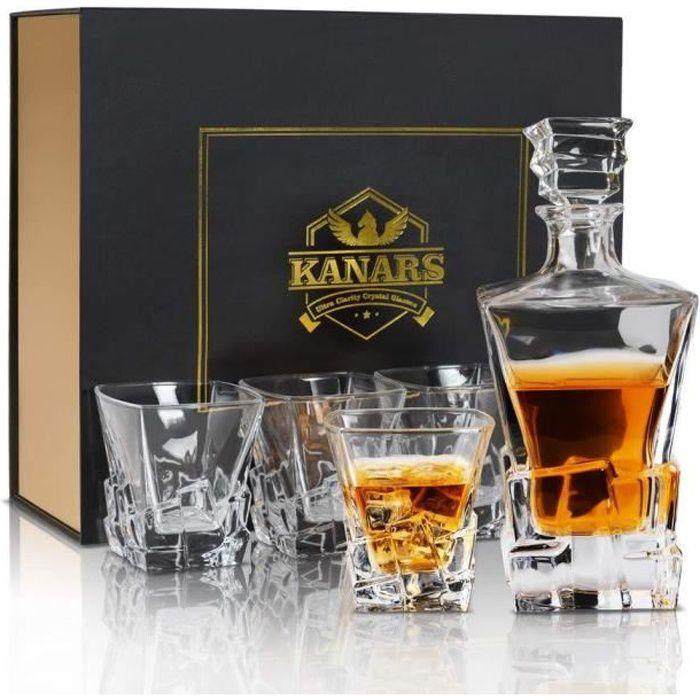 KANARS WD03 Kit de 5 pièces Whisky, avec Carafe à Décanter et Bouchon, Verre en Cristal, Bouteille de Whisky 800ml avec 4 Verres à