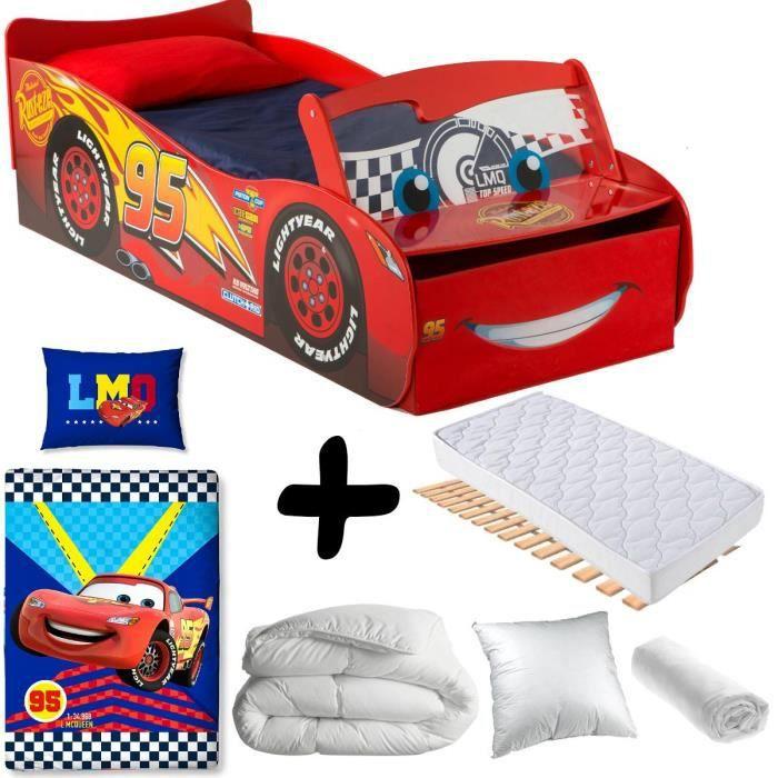 Pack complet Premium Lit Flash McQueen avec Pare-Brise Lumineux = Lit + Matelas & Parure + Couette + Oreiller Cars Disney