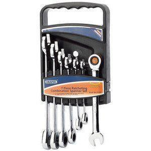Draper 25396 Hi-Torq Jeu de 7 clés métriques à cliquet et clés plates