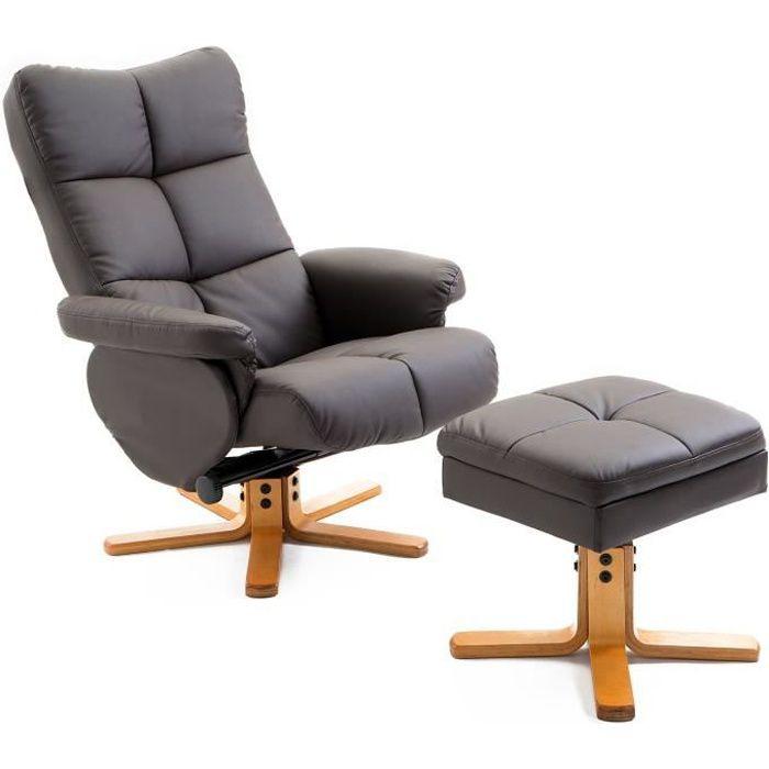Fauteuil relax inclinable style contemporain repose-pieds coffre rangement simili cuir acier bois chocolat 59 80x86x99cm Marron