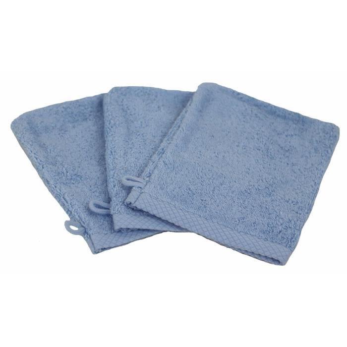 LINANDELLE - Lot de 3 gants de toilette coton eponge luxe ESSENTIELLE - Bleu ciel