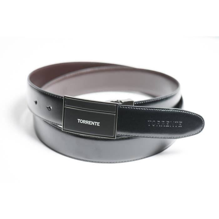 Torrente - Ceinture Reversible Noir/Marron - Cuir - Taille Ajustable - Boucle détachable - Ceinture homme Couture 18