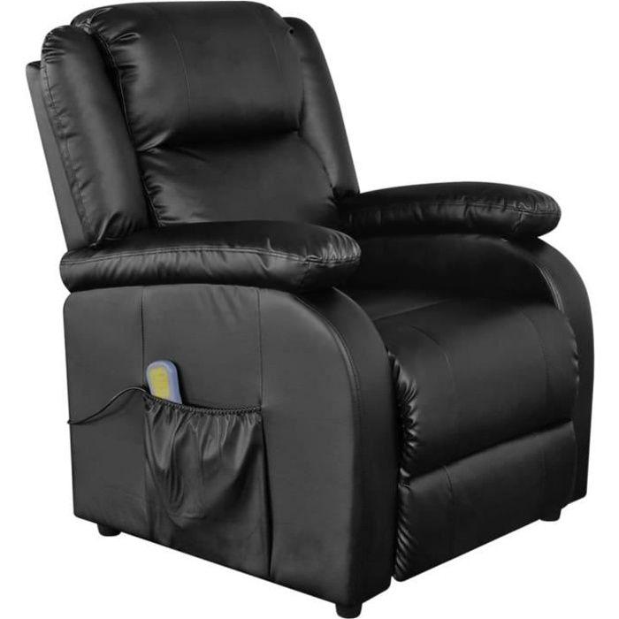 Fauteuil de massage électrique chaise Relax Massant Relaxation 77 x 90 x 106,5 cm chaise de massage Cuir synthétique Réglable Noir