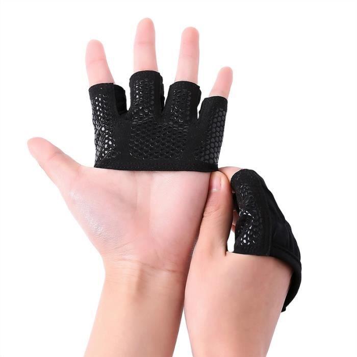 Yoga professionnel Haltère Fitness Barbell Haltérophilie Gants Gym adultes respirant protection moitié Gants doigts Size- L (Noir)