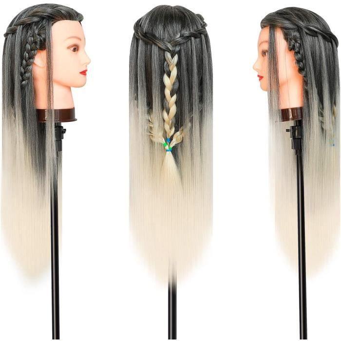 Tete a Coiffer, 66cm Tête de coiffure 100% de Cheveux Synthétiques Têtes d'exercice pour le Salon Coiffeur Poupée avec Support A26