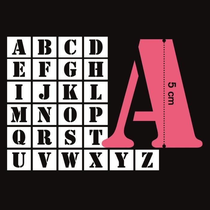 MAHÉ 26 Pochoirs Plastique Lettres 5 cm