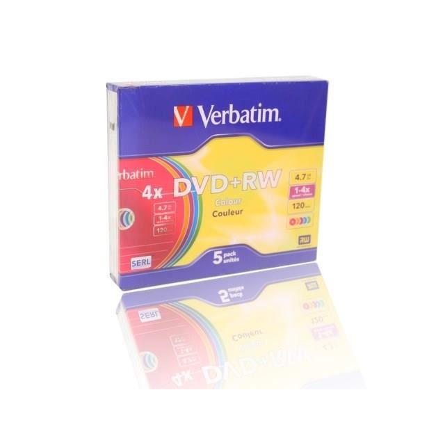 VERBATIM Lot de 5 DVD+RW Colours - 4.7 Go - 4X
