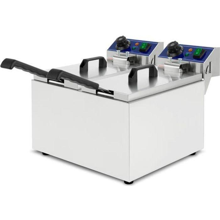 vertes Friteuse électrique 2x8L (2x3000 Watt, réglable en température jusqu'à 200°C, principe des zones froides, acier inoxydable)
