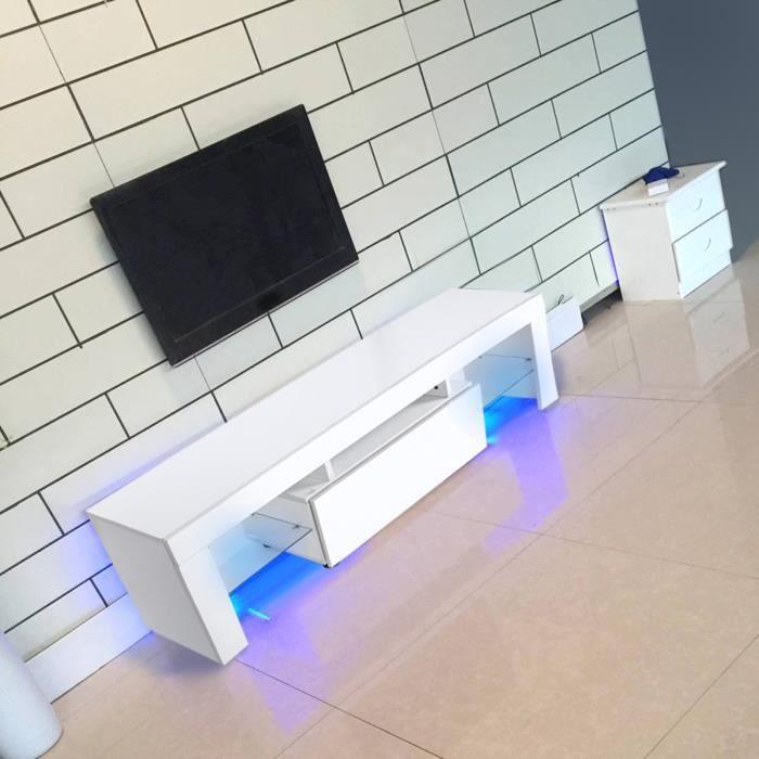 YUY Meuble TV moderne avec télécommande LED RGBW 130 x 35 x 45 cm
