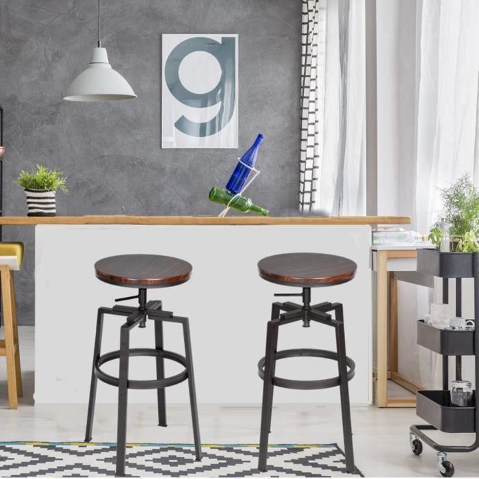 TABOURET DE BAR FurnitureR Lot de 2 Tabouret de Bar Industriel  St