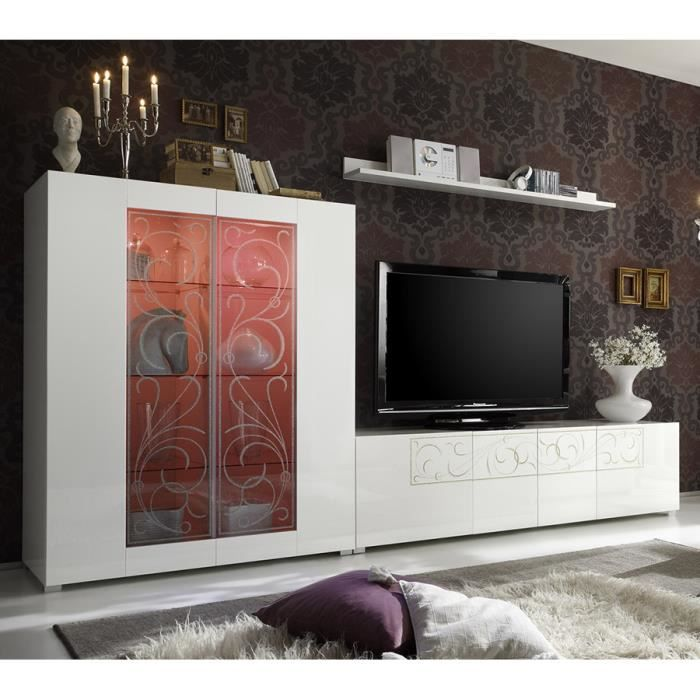 ensemble meuble tv blanc laqu s rigraphi design sabadi 2 avec achat vente meuble tv. Black Bedroom Furniture Sets. Home Design Ideas