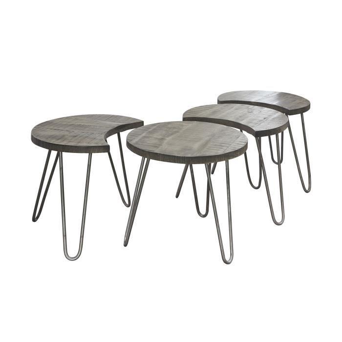 TABLE BASSE Lot de 4 tables basses rondes 50 cm en manguier gr