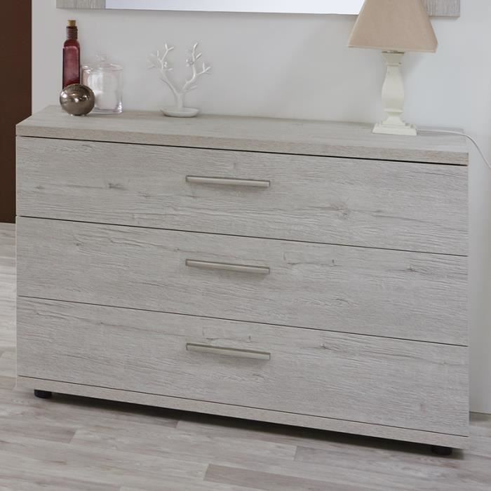 commode 3 tiroirs couleur bois blanc elsia achat vente commode de chambre commode 3 tiroirs. Black Bedroom Furniture Sets. Home Design Ideas