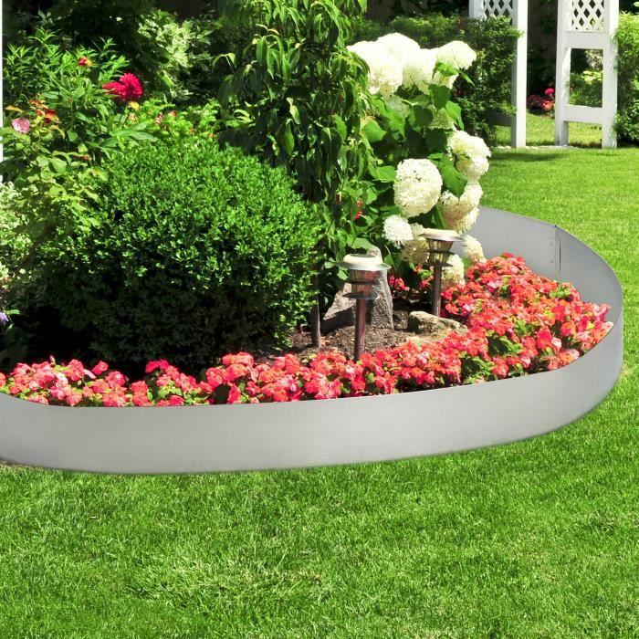 [casa.pro]® Bordure pour jardin bordure pour pelouse palissade acier  galvanisé barrière 10 m kit de 10