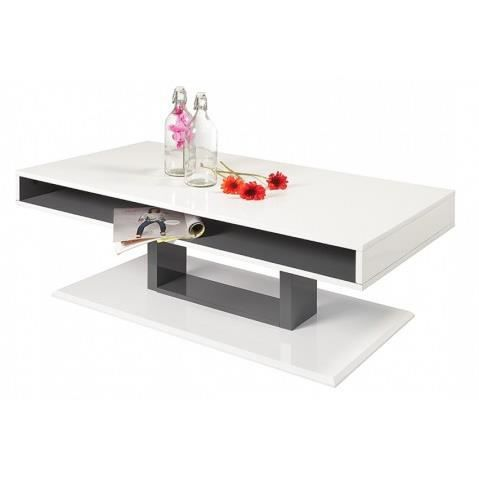 Table basse design blanche laquee sur pied margarette for Table basse blanche pied bois