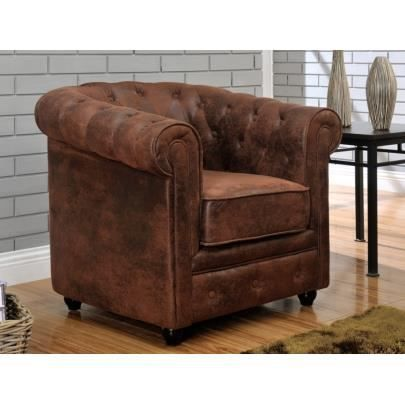 fauteuil en microfibre aspect cuir vieilli ches achat vente fauteuil marron cdiscount. Black Bedroom Furniture Sets. Home Design Ideas