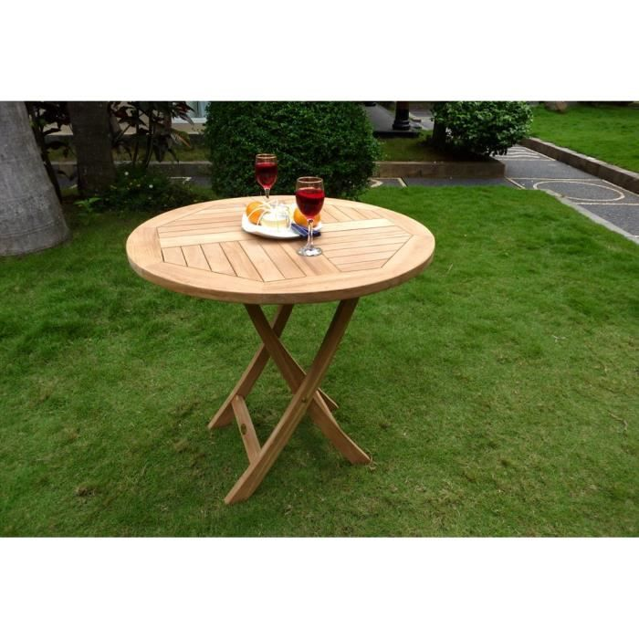 Table ronde pliante en teck brut 70 cm pliante achat vente table de jard - Table jardin cdiscount ...