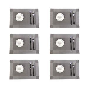 SET DE TABLE Lot de 6 Sets de Table PVC Napperons Vinyle Tissé
